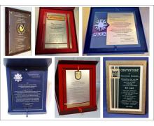 Szklane dyplomy, certyfikaty i podziękowania
